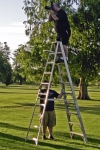 Awkward moment for Brian Gaines.  Brian was our photographer and Alexis Snyder caught him high on the ladder, taking pic
