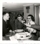 Doug Gwinn (57) Jerry Lee (58) and Rosemary Foss December 1958 Party