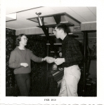 Judy Durand and Mike Ryles (58) dancing during party at Sharon Weathers' home December 1958